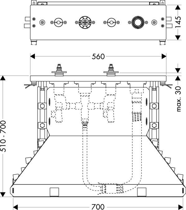 HansGrohe Alaptest 4 lyukú épített peremre szerelhető csaptelephez DN15 / 14445180 / 14445 180