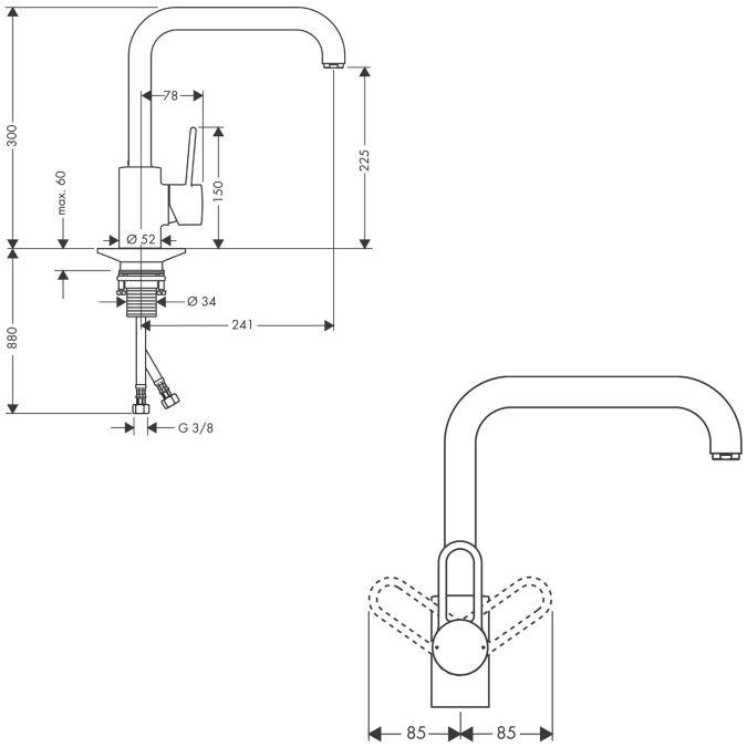 HansGrohe AXOR Uno Egykaros konyhai csaptelep elektromos, átfolyós vízmelegítőkhöz DN15 / króm / 14852000 / 14852 000