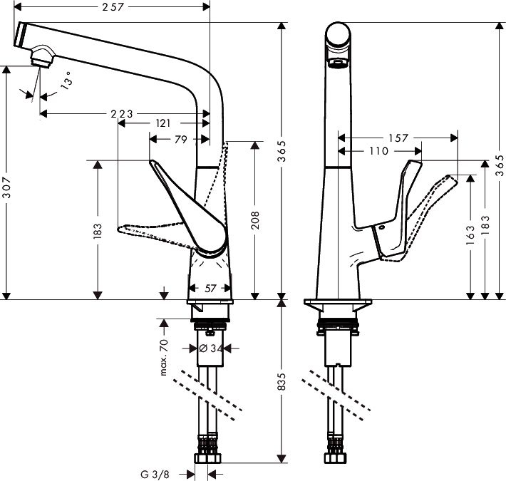 HansGrohe Metris Select egykaros konyhai csaptelep / rozsdamentes acél hatású / 14883800 / 14883 800