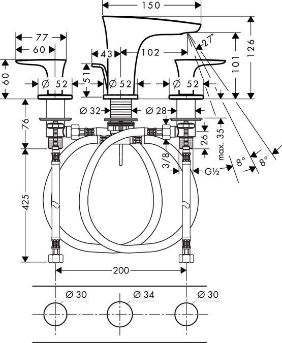 HansGrohe 3-lyukú mosdócsaptelep 100 / automata lefolyó-garnitúrával / 15063000 / 15063 000