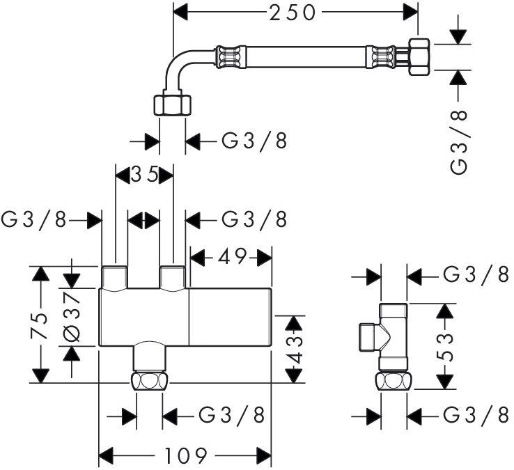 HansGrohe termosztát DN15 sarokszeleppel DN10 / króm / 15346000 / 15346 000