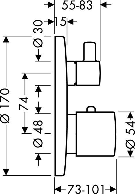 HansGrohe Ecostat S termosztátos csaptelep színkészlet / falsík alatti szereléshez / elzáró- és váltószeleppel / króm / 15721000 / 15721 000