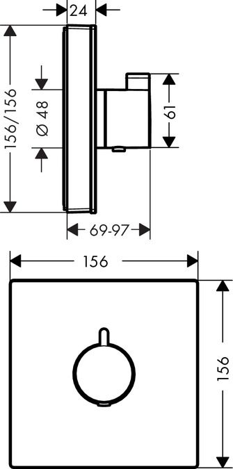 HansGrohe ShowerSelect glas falsík alatti highflow termosztátos csaptelep / 15734400 / 15734 400