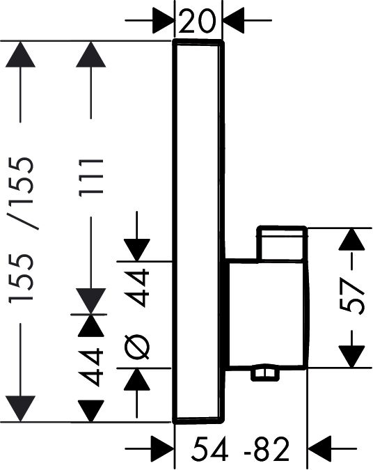 HansGrohe ShowerSelect termosztát 1 fogyasztóhoz falsík alatti szereléshez / 15762000 / 15762 000