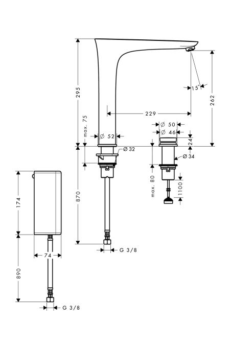 HansGrohe PuraVida elektromos konyhai csaptelep / rozsdamentes acél-optika / 15805800 / 15805 800