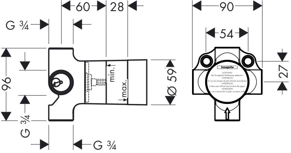 HansGrohe Alaptest falsík alatti, Quattro négyutas váltószelep DN20 / 15930180 / 15930 180