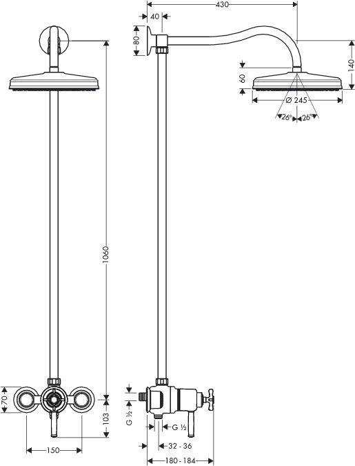 HansGrohe AXOR Montreux Showerpipe DN15 / króm / 16570000 / 16570 000