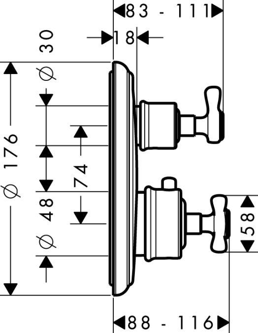 HansGrohe AXOR Montreux Termosztátos színkészlet / falsík alatti szereléshez / elzáró- és váltószeleppel / szálcsiszolt nikkel / 16820820 / 16820 820