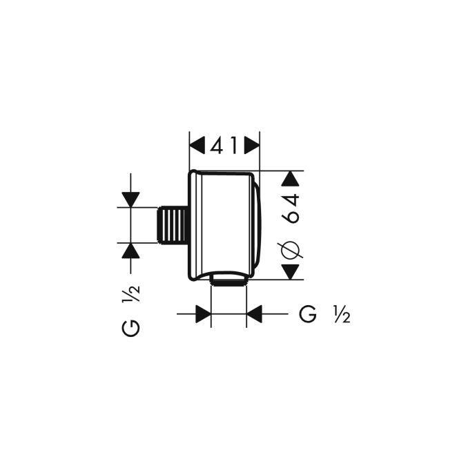 HansGrohe AXOR Fixfit Classic fali csatlakozó DN15 / szálcsiszolt nikkel / 16884820 / 16884 820