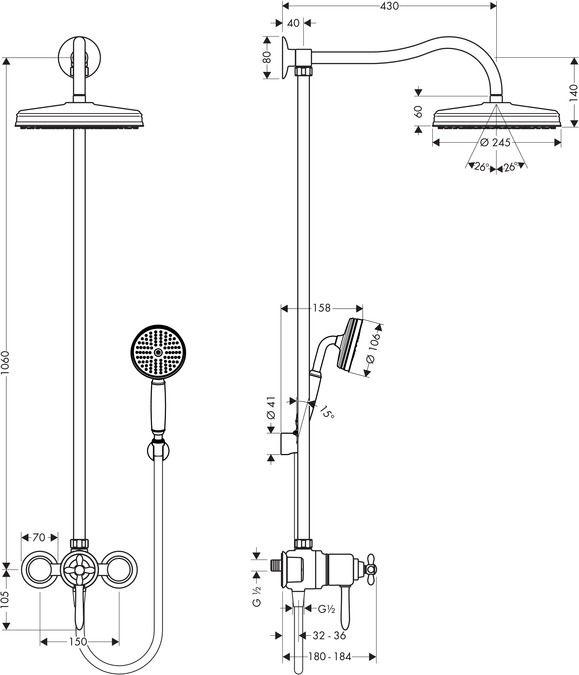 HansGrohe Showerpipe termosztátos csapteleppel / 1jet fejzuhany EcoSmart 9 liter/perc / 17671000 / 17671 000