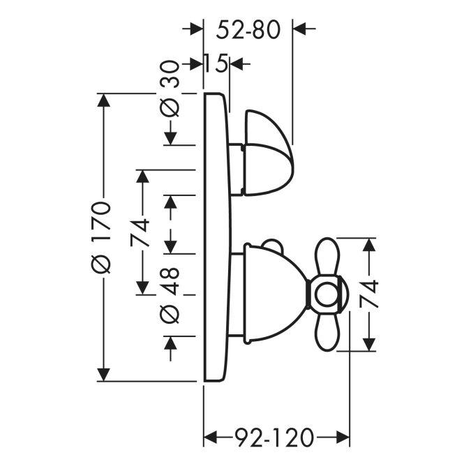 HansGrohe AXOR Carlton Termosztátos csaptelep falsík alatti szereléshez / elzárószeleppel és keresztfogantyúval / króm-arany hatású / 17705090 / 17705 090