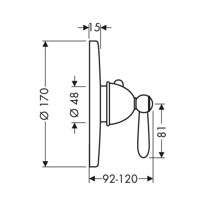 HansGrohe AXOR Carlton Termosztátos csaptelep falsík alatti szereléshez / fordítókarral / króm / 17710000 / 17710 000