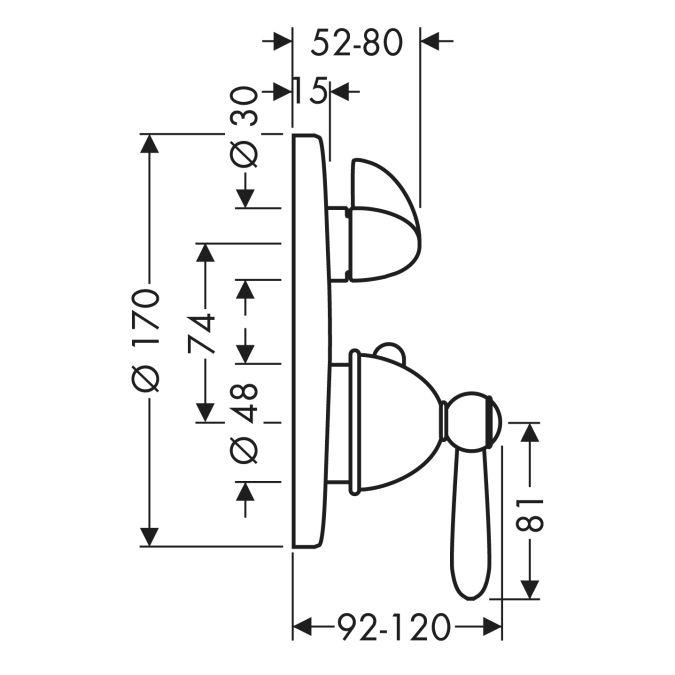 HansGrohe AXOR Carlton Termosztátos csaptelep / falsík alatti szereléshez / elzáró- és váltószeleppel és fordítókarral / króm-arany hatású / 17720090 / 17720 090