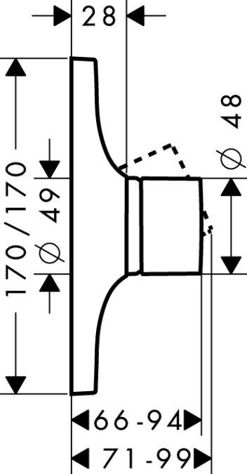 HansGrohe AXOR Massaud Egykaros, falsík alatti zuhanycsaptelep színkészlet / króm / 18655000 / 18655 000