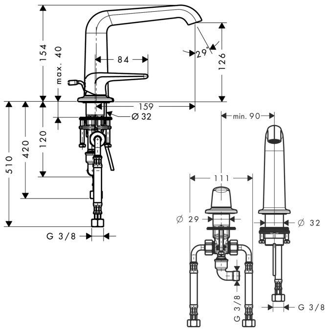 HansGrohe AXOR Bouroullec 2-lyukú mosdócsaptelep 155 mm / DN15 / 19123000 / 19123 000