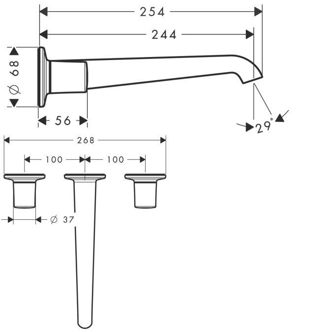 HansGrohe AXOR Bouroullec 3-lyukú, falsík alatti mosdócsaptelep / fali kifolyóval 245 mm / DN15 / 19136000 / 19136 000