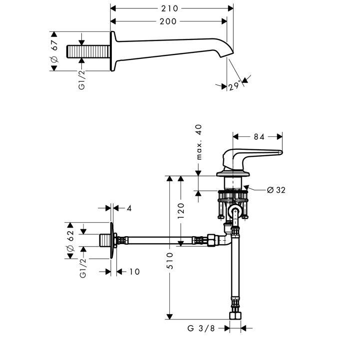 HansGrohe AXOR Bouroullec Egykaros mosdócsaptelep falsík alatti szereléshez / 200 mm-es fali kifolyószeleppel és állófogantyúkkal / 19137000 / 19137 000