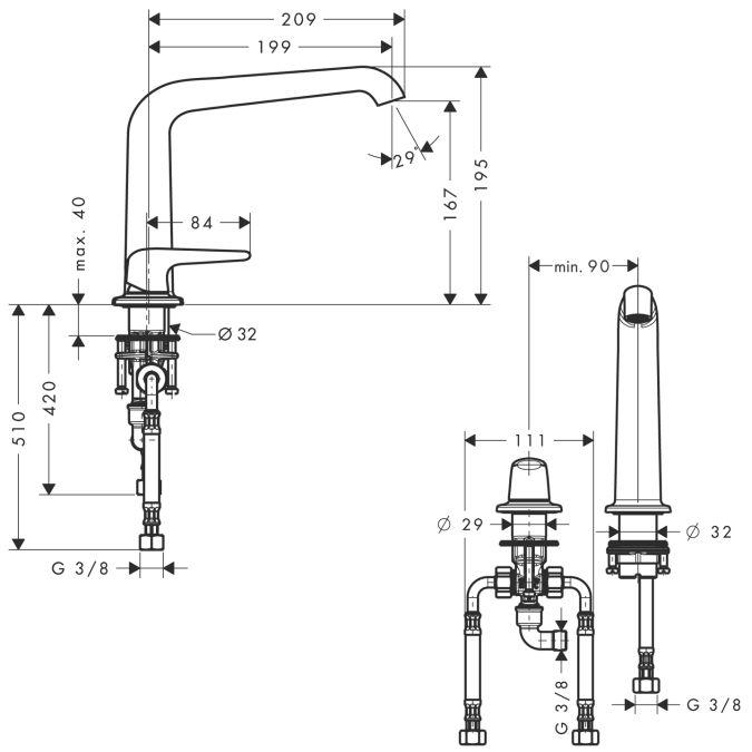 HansGrohe AXOR Bouroullec 2-lyukú mosdócsaptelep 195 mm DN15 / leeresztőkar nélkül / 19144000 / 19144 000
