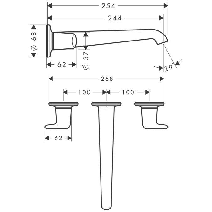 HansGrohe AXOR Bouroullec 3-lyukú mosdócsaptelep / falsík alatti szereléshez / falra szerelhető kifolyóval 245 mm / fordítókarral / DN15 / króm / 19158000 / 19158 000