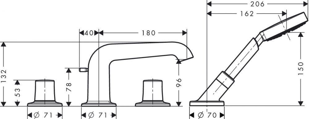 HansGrohe AXOR Bouroullec 4-lyukú épített peremre szerelhető kádcsaptelep / DN15 / 19456000 / 19456 000