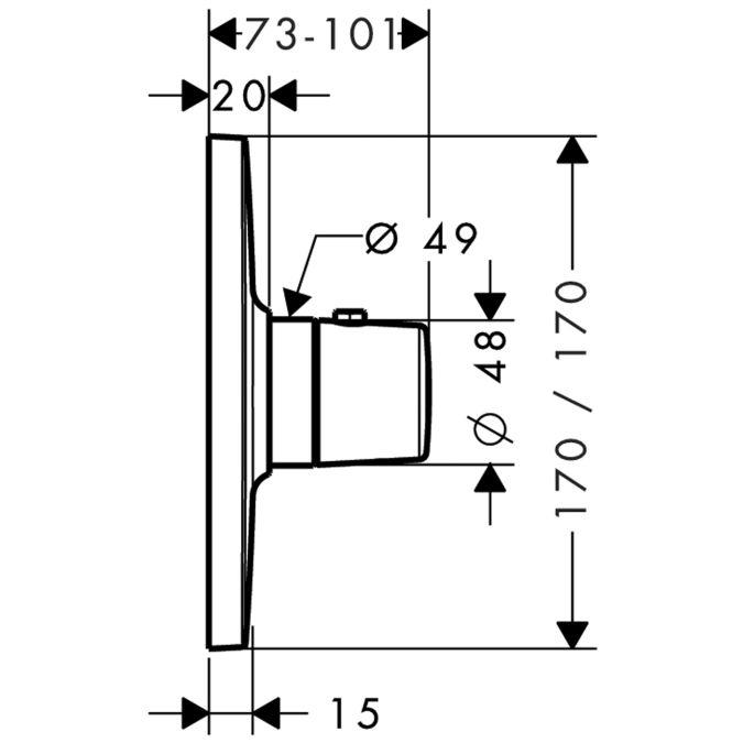 HansGrohe AXOR Bouroullec Highflow termosztát / falsík alatti / 19702000 / 19702 000