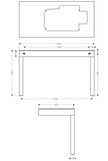 HansGrohe AXOR Bouroullec Bútor mosdótálakhoz / falra szerelhető / kivágással a 19943000 cikkszámú termékhez / gleccserfehér-világos tölgy / 19928000 / 19928 000