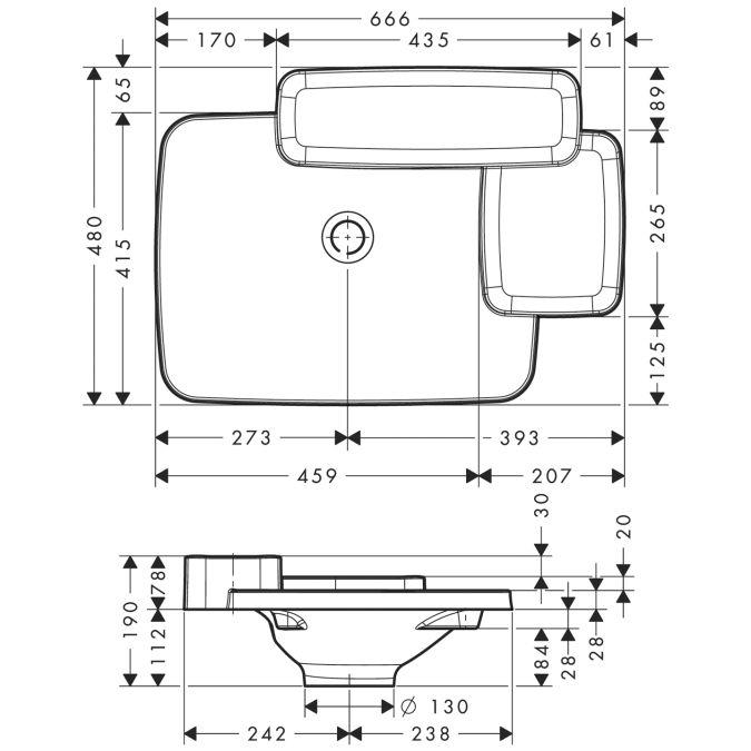 HansGrohe AXOR Bouroullec Beépített mosdókagyló / 666 mm / 2 polccal / 19941000 / 19941 000