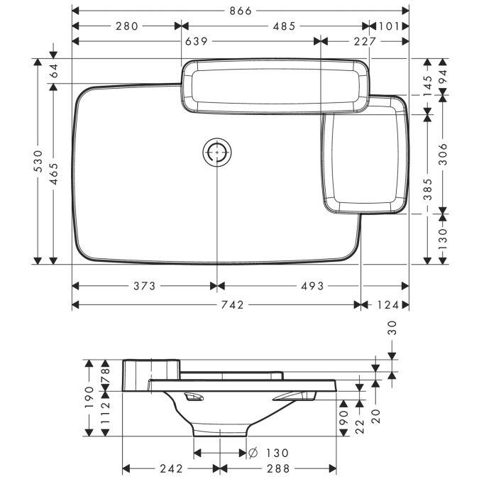 HansGrohe AXOR Bouroullec Beépített mosdókagyló / 866 mm / 2 polccal / 19943000 / 19943 000