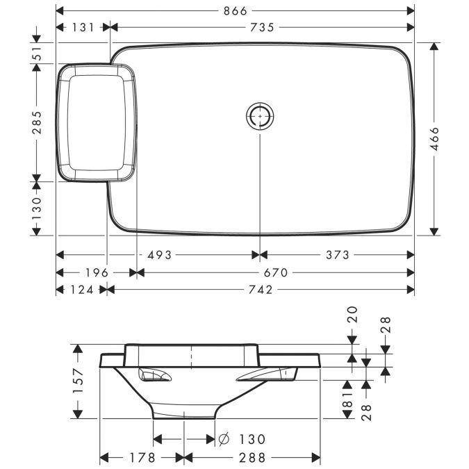 HansGrohe AXOR Bouroullec Beépített mosdókagyló / 866 mm / 1 polccal / 19945000 / 19945 000