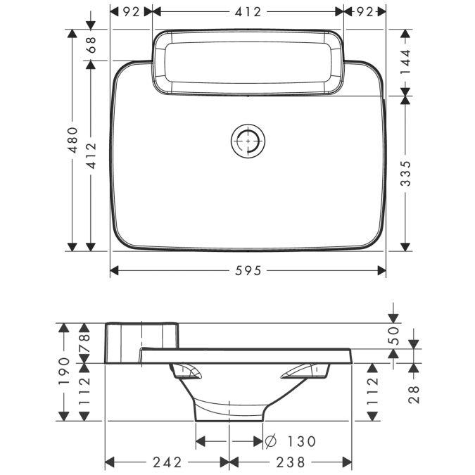 HansGrohe AXOR Bouroullec Beépített mosdókagyló / 595 mm / 1 polccal / 19947000 / 19947 000