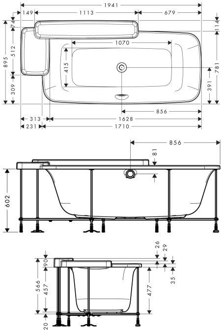 HansGrohe AXOR Bouroullec Beépített fürdőkád / 19955000 / 19955 000