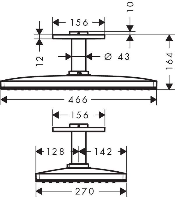 HansGrohe Rainmaker  Select 460 / 1jet fejzuhany mennyezeti csatlakozóval 100 mm / 24002400 / 24002 400