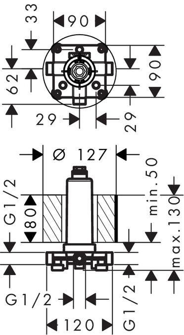 HansGrohe Alaptest Rainmaker Select 460 /  mennyezeti csatlakozóval / 24010180 / 24010 180