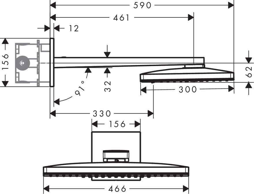 HansGrohe Rainmaker Select 460 / 3jet fejzuhany EcoSmart 9 liter/perc mennyezeti csatlakozóval 100 mm / 24016400 / 24016 400