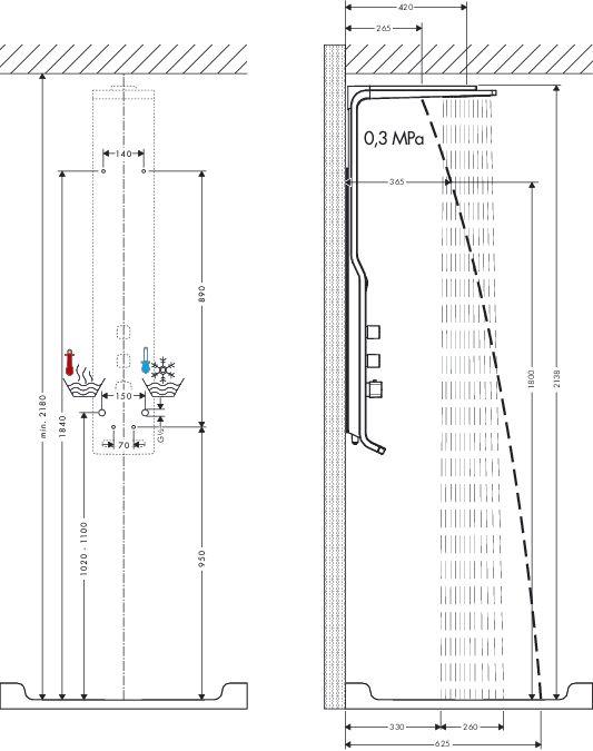 HansGrohe Raindance Lift zuhanypanel falsíkon kívüli szereléshez / DN15 / matt-króm-króm / 27008000 / 27008 000