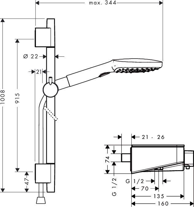 HansGrohe ShowerTablet 300 Combi 900mm / króm / 27027000 / 27027 000