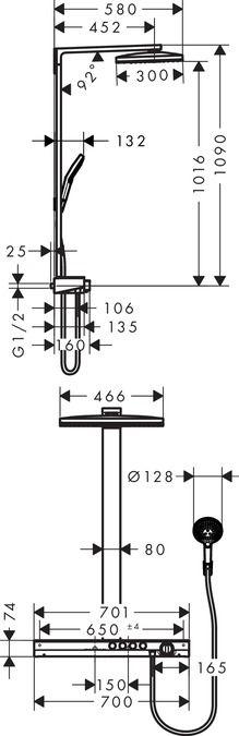 HansGrohe Rainmaker Select 460 3jet Showerpipe EcoSmart 9 liter/perc / 27029400 / 27029 400