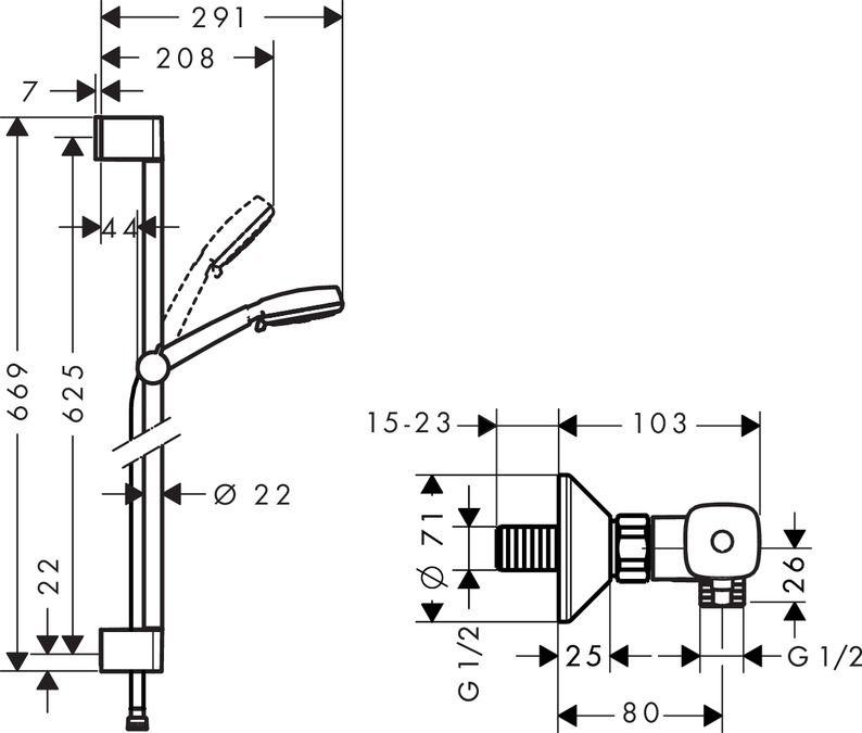 HansGrohe Crometta 100 Vario Combi szett 0.65 m / 27030400 / 27030 400
