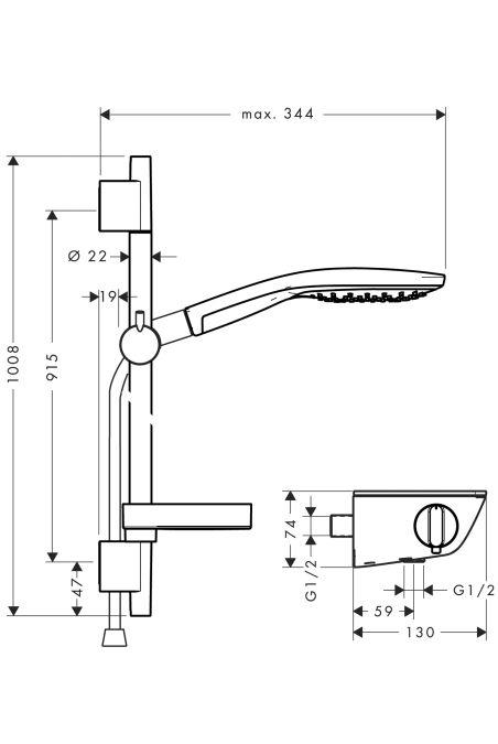 HansGrohe Ecostat Select falsíkon kívüli zuhanycsaptelep / RD Select S 150, 0,90 m szett / kóm / 27037000 / 27037 000