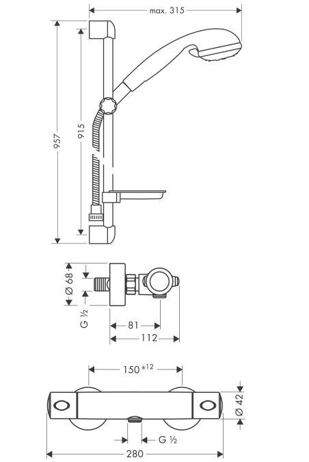HansGrohe Croma Ecostat Combi zuhanyhoz DN15 / króm / 27063000 / 27063 000