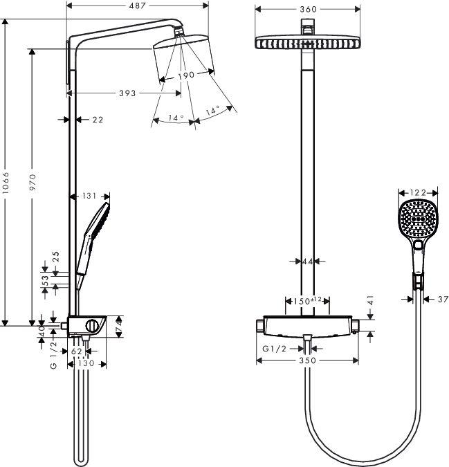HansGrohe Raindance Select Showerpipe 360 / fehér-króm / 27112400 / 27112 400