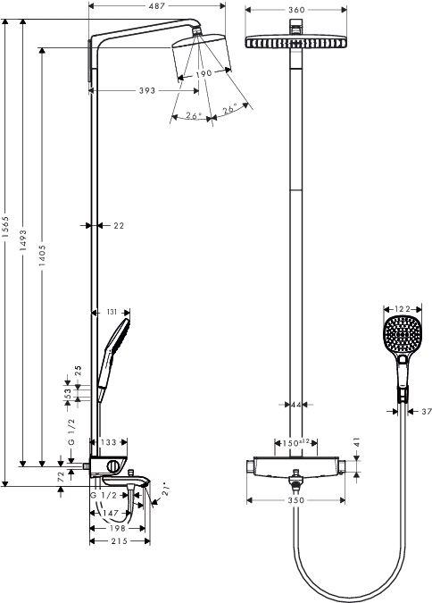 HansGrohe RD Select Showerpipe 360 kád / fehér-króm / 27113400 / 27113 400