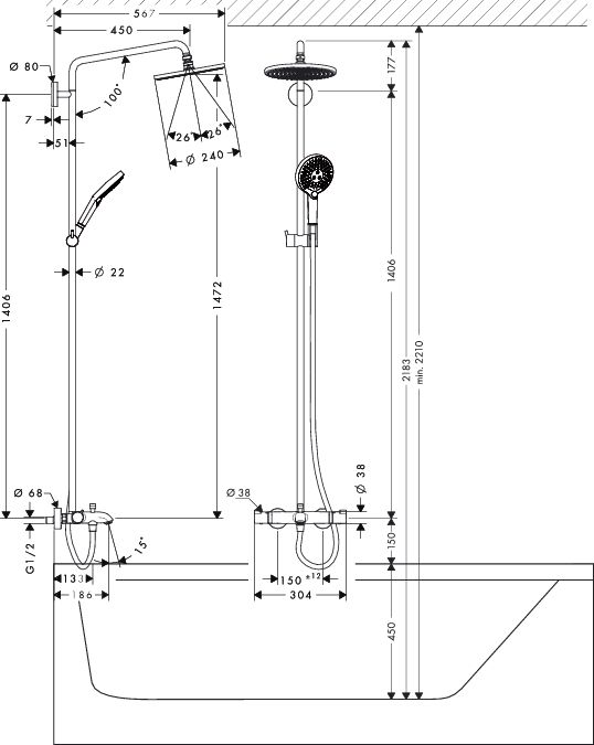 HansGrohe Raindance Select S 240 1jet Showerpipe zuhanyrendszer / DN15 / króm / 27117000 / 27117 000