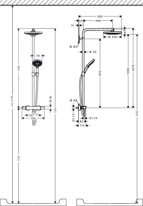 HansGrohe RD Select S 240 2jet Showerpipe / króm / 27129000 / 27129 000