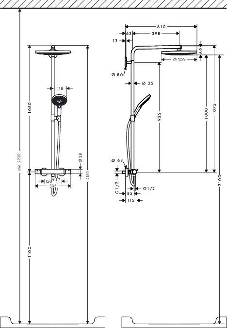 HansGrohe RD Select S 300 2jet Showerpipe / fehér-króm / 27133400 / 27133 400