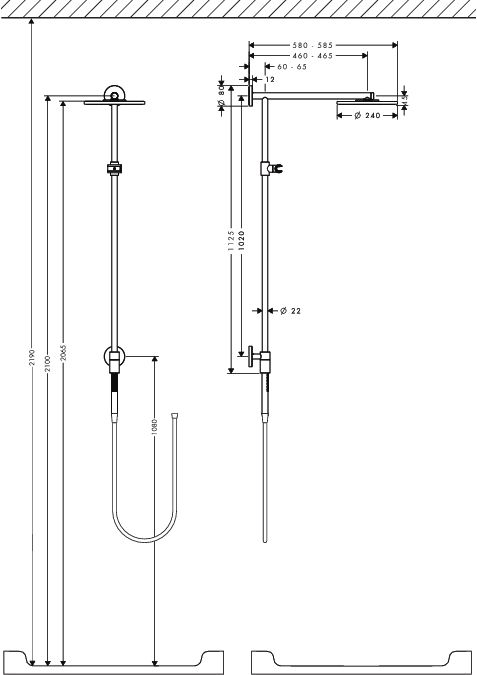 HansGrohe Raindance Connect S 240 Showerpipe / 460 mm-es zuhanykarral / DN15 / króm / 27164000 / 27164 000