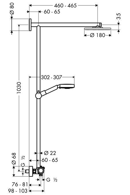 HansGrohe Raindance S 180 Showerpipe EcoSmart / 460 mm-es zuhanykarral / DN15 / króm / 27165000 / 27165 000