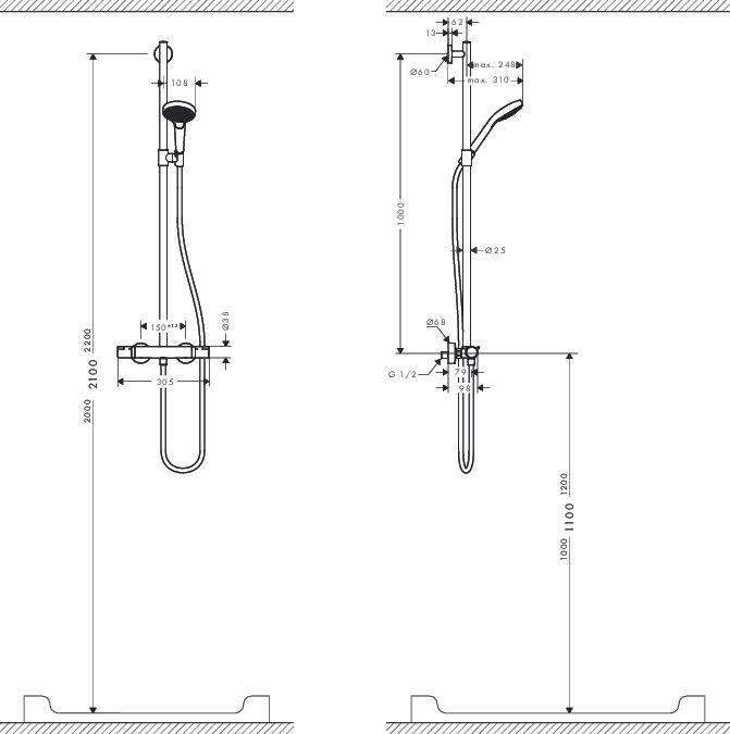 HansGrohe Croma Select S Multi SemiPipe / 27247400 / 27247 400