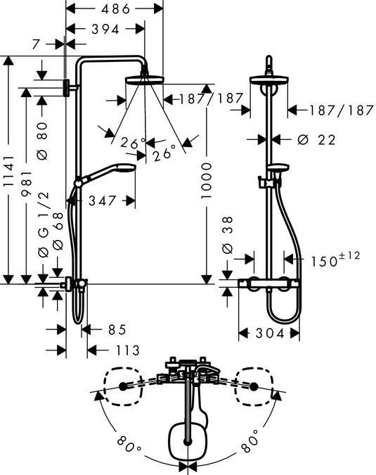HansGrohe Croma Select E 180 2jet Showerpipe EcoSmart 9 liter/perc / 27257400 / 27257 400