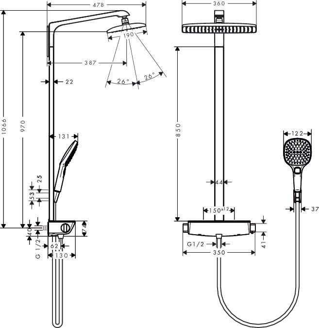 HansGrohe Raindance Select E 360 Showerpipe EcoSmart 9 l/perc, fehér/króm / 27287400 / 27287 400